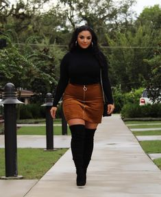 Girls Fall Outfits, Curvy Girl Outfits, Casual Fall Outfits, Classy Outfits, Sexy Outfits, Fashion Outfits, Plus Size Fall Outfit, Plus Size Outfits, Winter Skirt Outfit