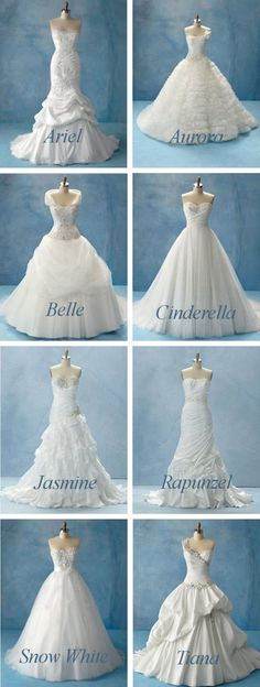 My favorite is the back of the Cinderella dress and the Belle dress minus the weird ruffle thing that swings in the front I wish it was more like her dress. BUT the Snow White dress would be perfect on @Sarenatee Thompson :D