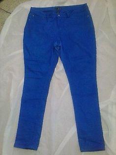 Womens Plus Size Skinny Jeans Jeggings Rhinestone Size 20 Curvy Blue s6