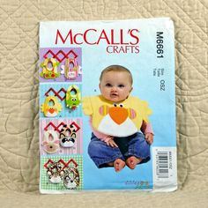 Baby Bib Pattern, McCalls M6661 Crafts, Velcro Closure, Contrast Animal Appliques, 2012 Uncut, 3-oz by DartingDogCrafts on Etsy