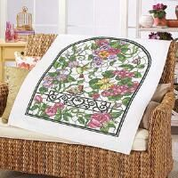 Herrschners® Summer Stained Glass Lap Quilt Top Stamped Cross-Stitch Kit