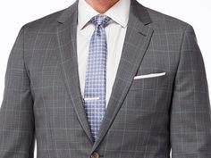 Gray with Light Blue Windowpane Suit