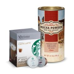 Verismo™ Mocha Kit  Everything you need to make rich mochas at home. Blend Mocha Powder with warm water into a sauce at the bottom of your cup, brew a Verismo™ Caffè Latte, stir and enjoy. Tasting Notes  Creamy, dark chocolate. Enjoy this with:  A stack of syrupy pancakes before the house wakes up. $20.95 http://websites-buy.com/starbucks-coffee-store