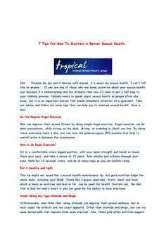 7 Tips For Men Sexual Health by tropicalherbal Care