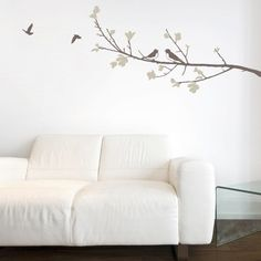 Create an innovative style for your rooms with these leaves & Birds composition wall sticker. Use this large vinyl wall decals to get a decorative and stylish look, transforming your space into a relaxing environment.$74.95