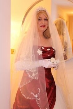 Crossdressing service bride Hannah in a stunning winter wedding dress