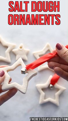 Star Salt Dough Decorations SALT DOUGH ORNAMENTS these star salt dough ornaments make the perfect DIY Christmas gift! Its also a fun Christmas craft activity for kids. Kids can paint them or help you make the dough. Salt Dough Christmas Decorations, Salt Dough Ornaments, Diy Christmas Ornaments, How To Make Ornaments, Christmas Presents, Ornaments Ideas, Diy Kids Christmas Gifts, Christmas Quotes, Christmas Holiday