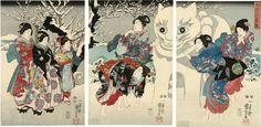 """Kuniyoshi, ""Giant Snow Cat"", Woodblock print on paper (triptych), 14 x 29 overall"" Japanese Painting, Chinese Painting, Japanese Prints, Japanese Art, Traditional Japanese, History Of Illustration, Huge Cat, Art Asiatique, Kuniyoshi"