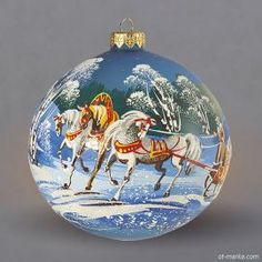 Winter. A trio of horses. Troika. Шар Ø120мм Ball on the Christmas tree. Glass. New Year's toys. Christmas decorations. Christmas ornaments. Hand made.  Christmas toys. Made in Russia. Mail delivery. Wholesale. Retail. Шар на ёлку. Зима. Пейзаж. Тройка. Ёлочные украшения. Стеклянные игрушки. Ручная работа. Роспись. Стекло. Ёлочные игрушки.