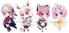 Chibi commissions 4 by LaDollBlanche.deviantart.com on @DeviantArt
