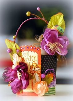 "Halloween with Petaloo and Graphic 45...This sweet little BASKET is perfect for your home or for a Halloween PARTY FAVOR! Come to the Petaloo Blog to see how Irene Tan has used ""An Eerie Tale"" paper plus Botanica flowers and berries to create it!"