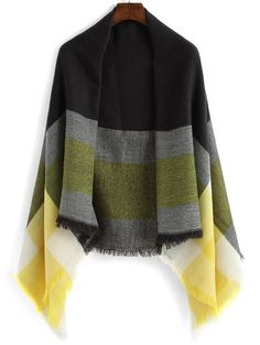 Striped Frayed Yellow Scarf