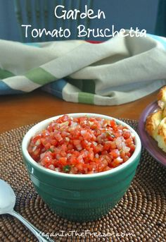 Garden Tomato Bruschetta flavors are fresh and tasty and it is not only great on little crostini toasts but it is also great as a dip.