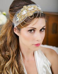 Gold Crystal Headband, Veil Head Wrap, Art Deco, Vintage Inspired, Tulle Veil, Great Gatsby Wedding Veil, 1920's Style - WHITNEY Design