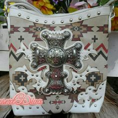 REDUCED! Aztec Cross Body Bag Beautiful Bold Cross on Aztec print cross body purse. Boutique Bags Crossbody Bags