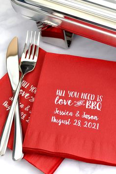 BBQ Wedding Reception Idea - Add personalized napkins to your BBQ wedding for a unique message to guests from the bride and groom and a fun conversation starter. You have to have napkins. Lilac Wedding, Our Wedding, Plaid Wedding, Wedding Ideas, Mermaid Wedding, Wedding Planning, Dream Wedding, All You Need Is, Fun Conversation Starters