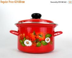 ON SALE Lovely red enamelled vintage pan with by VintagetoFrance