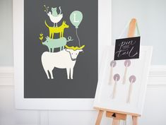 Mod Cow Party: Moglea's Farm Party Print as a Pin the Tail Game  {Minted}