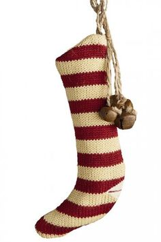 Knit Stocking Ornaments with Bells