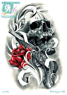 7ab36c6a08037 Rocooart LC-799 21*15cm Body Art HD Halloween Large Tatoo Sticker Rose Pistol  Skull Head Women's Temporary Tattoo Stickers Taty #Affiliate