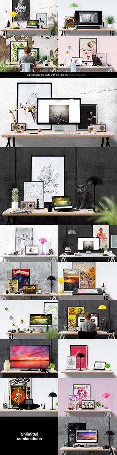 Mockup Scene Creator #design Download: https://creativemarket.com/Placeto/104565-Mockup-Scene-Creator-Desk-edition?u=ksioks