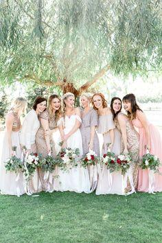 Gorgeous neutral mix and match bridesmaids: http://www.stylemepretty.com/california-weddings/2016/01/21/an-event-coordinators-dreamy-organic-romantic-backyard-wedding/   Photography: Daphne Mae - http://www.daphnemaephotography.com/