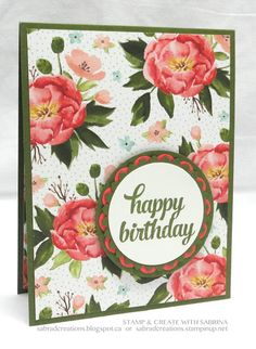 handmade birthday card form Stamp & Create With Sabrina: Birthday Bouquet DSP ... medallion with main colors from the paper ... beautiful patterned paper .... Stampin' Up!