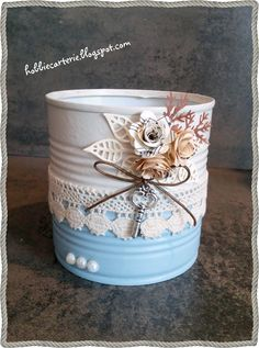Shabby Chic Crafts, Rustic Crafts, Vintage Crafts, Aluminum Can Crafts, Tin Can Crafts, Recycle Cans, Diy Cans, Altered Tins, Altered Bottles