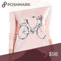 """JOIE Eloisa Pink Bicycle Cashmere Blend Sweater L This effortlessly feminine-chic sweater has a sweet bicycle and flower motif that exudes Parisian style.  -Color: """"Picasso Pink""""  -Ribbed wide round neckline, cuffs and hem  -Dropped shoulders  -Long sleeves  -Pullover style  -Nylon/rayon/wool/cashmere blend  -Imported  EUC Worn once Joie label is missing. Sz M Joie Sweaters Crew & Scoop Necks"""
