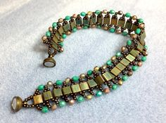 Tila Bead and Czech Glass Beaded Bracelet Woven by JewelryCharmers, $30.00