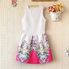 Sweet Vintage Casual Dress 2014 New Women's Fashion Summer Sleeveless Vest Bottoming Retro Flower Printing Party Dresses