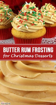 This really is the Best Butter Rum Frosting for Christmas Desserts. Creamy and sweet and delicious, you'll never need another Butter Rum Christmas Frosting recipe! It is so easy to make and boy will it be delicious on your Christmas Treats! Buttercream Recipe, Frosting Recipes, Cupcake Recipes, Baking Recipes, Cupcake Cakes, Snacks Recipes, Gourmet Cupcakes, Butter Frosting, Recipes Dinner