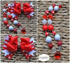 Red and White Christmas Boutique Stacked Bow and Chunky Beaded Necklace on Etsy, $35.00