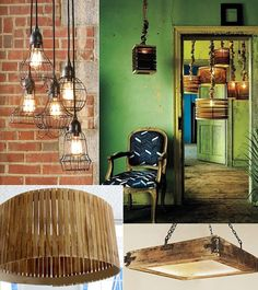 wire chandelier |hanging wooden slat lights(green room) | stir-stick lampshade DIY|wooden box light