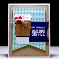 My Favorite Things: Die-Namics Inside & Out Diagonal Stitched Rectangle STAX Die-Namics Hearts STAX Die-Namics Stitched Jumbo Fishtail Banner STAX Die-Namics Gift Card Pocket - Vertical Die-Namics Coffee Cup Dies Perk Up Stamp set Stencil Harlequin #MFTstamps