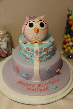 Pink, Lavender & Aqua Flowers and Butterflies Owl Cake (Aaliyah)