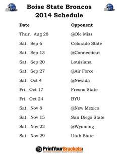 Printable Boise State Broncos Football Schedule 2014