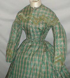 All The Pretty Dresses: American Civil War Era Green Plaid Dress