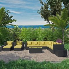 - Cohesion 11 Piece Outdoor Patio Sectional Set in Espresso Peridot