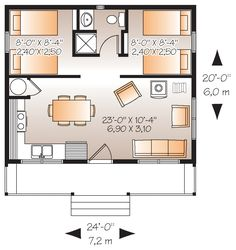 480 sf with 2BR/1Ba. Could use one BR as office/study/craft area. Downsize kitchen, put french doors in lieu of traditional front door. Canadian modern cottage house plan
