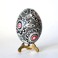 Pysanka Ukrainian Easter egg in black and white beautiful gift