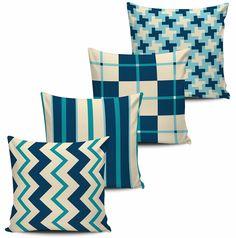 Conjunto 4 almofadas Geometricas - Azul