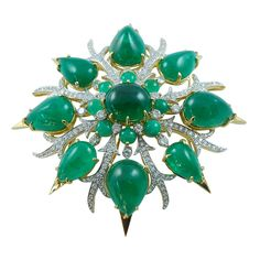 Emerald and Diamond Brooch in Gold by Tony Duquette, he was beyond brilliant!