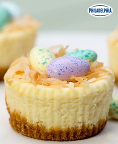 A real crowd-pleaser, this easy and elegant dessert adds the perfect finishing t. A real crowd-pleaser, this easy and elegant dessert adds the perfect finishing touch to your Easter feast. Tap or click photo for this PHILADELPHIA Easter Mini Cheesecakes Desserts Ostern, Köstliche Desserts, Delicious Desserts, Dessert Recipes, Recipes Dinner, Kraft Recipes, Easter Cheesecake, Mini Cheesecake Recipes, Classic Cheesecake