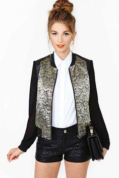 #blackbomberjacket #metallic #silver&gold #veganleather