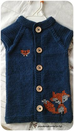 knit vest kinderweste stricken Детская безрукавка жилет спицами fuchs sticken вышивка на вязаном