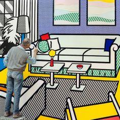 Tumblr    scenerylabel:  Roy Lichtenstein at work.  Photograph by Laurie Lambrecht.  Source: https://www.lensculture.com/articles/laurie-lambrecht-inside-roy-lichtenstein-s-studio