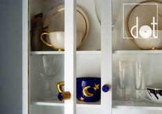 Small cabinet with dark blue enamel knobs. If you want more colours - see www.dotgalki.pl   gałki do mebli emaliowane - DOT biżuteria dla mebli