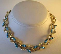 Signed Lisner Aqua Blue Navette Necklace