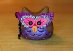 polymer clay owl purple and pink masquerade by SMarrtCreations, $8.00